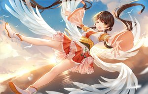 Rating: Safe Score: 51 Tags: animal anthropomorphism bird bisonbison brown_hair clouds dress feathers long_hair sky tagme_(character) twintails water wings wink yellow_eyes zhanjian_shaonu User: BattlequeenYume