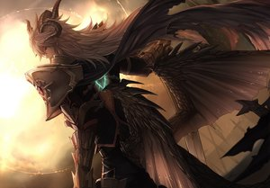Rating: Safe Score: 124 Tags: all_male armor cape fate/apocrypha fate_(series) gloves horns long_hair male siegfried sword tenyo0819 weapon white_hair wings User: otaku_emmy