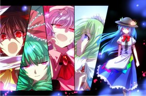 Rating: Safe Score: 20 Tags: aqua_eyes aqua_hair bow brown_hair fang green_hair group hakurei_reimu hinanawi_tenshi kagiyama_hina kuro_mame long_hair petals pink_eyes pink_hair red_eyes remilia_scarlet ruukoto short_hair touhou vampire User: RyuZU