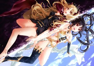 Rating: Safe Score: 211 Tags: barefoot black_hair blonde_hair breasts cape clouds ereshkigal_(fate/grand_order) fate/grand_order fate_(series) headdress ishtar_(fate/grand_order) long_hair navel orange_eyes red_eyes sky thighhighs twintails yuu+1 User: RyuZU