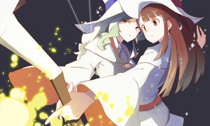 Rating: Safe Score: 40 Tags: 2girls brown_eyes brown_hair diana_cavendish green_hair hat kagari_atsuko little_witch_academia long_hair vic witch_hat User: RyuZU