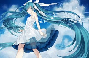 Rating: Safe Score: 79 Tags: aqua_eyes aqua_hair blush clouds dress hatsune_miku kurose_ito_(akl14) long_hair music sideboob sky summer_dress tattoo twintails vocaloid User: luckyluna