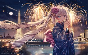 Rating: Safe Score: 126 Tags: aliasing blue_eyes blush bow building clouds fate/grand_order fate_(series) fireworks japanese_clothes junpaku_karen kimono long_hair marie_antoinette_(fate/grand_order) moon night sky stars twintails water watermark white_hair User: BattlequeenYume