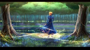 Rating: Safe Score: 46 Tags: artoria_pendragon_(all) fate_(series) fate/stay_night flowers forest ganov reflection saber tree water User: FormX