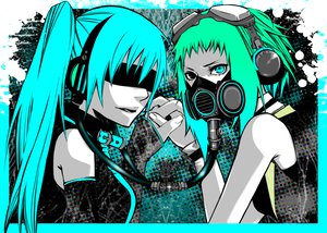 Rating: Safe Score: 110 Tags: drahtpuppe goggles gumi hatsune_miku headphones mask twintails vocaloid User: HawthorneKitty