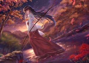 Rating: Safe Score: 70 Tags: autumn black_hair bow_(weapon) clouds forest inuyasha japanese_clothes kikyo long_hair miko sky sunset tree water weapon yelan_xing_xuan User: BattlequeenYume