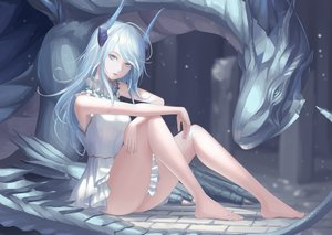 Rating: Safe Score: 135 Tags: barefoot blue_eyes dragon dress horns long_hair original rinmmo User: BattlequeenYume