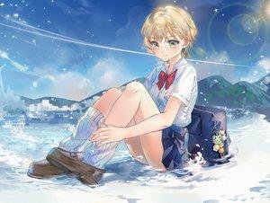 Rating: Safe Score: 43 Tags: blonde_hair bow green_eyes kaeki kneehighs landscape original scenic school_uniform short_hair skirt socks water yellow_eyes User: RyuZU