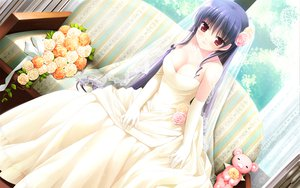 Rating: Safe Score: 175 Tags: breasts cleavage couch elbow_gloves flowers gloves kanekiyo_miwa natsu_no_ame segawa_rikako teddy_bear wedding_attire User: Wiresetc