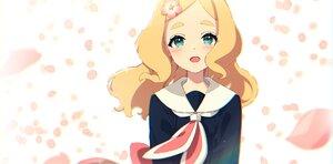 Rating: Safe Score: 34 Tags: blonde_hair blush close green_eyes harohapi!_shinonome_megu-chan_no_oheya long_hair mamyouda petals school_uniform shinonome_megu User: otaku_emmy