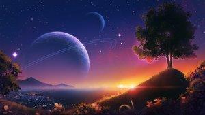 Rating: Safe Score: 74 Tags: monorisu nobody original planet scenic sky stars sunset tree water User: RyuZU