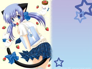 Rating: Safe Score: 45 Tags: animal animal_ears blue_eyes blue_hair blush cat catgirl cat_smile food fruit long_hair nekoneko original seifuku strawberry tail thighhighs twintails watermark zettai_ryouiki User: Katsumi