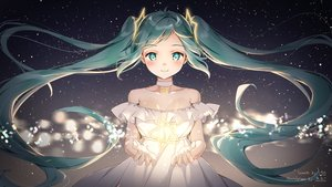Rating: Safe Score: 93 Tags: blush choker dress gradient green_eyes green_hair hatsune_miku long_hair shiratama_akane stars summer_dress twintails vocaloid User: Dreista