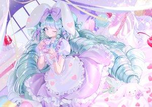 Rating: Safe Score: 49 Tags: bunny dress drink green_hair lolita_fashion long_hair mullpull original watermark wink User: BattlequeenYume