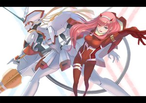 Rating: Safe Score: 14 Tags: bicolored_eyes bodysuit darling_in_the_franxx horns long_hair mecha orange_eyes pink_hair tagme_(artist) zero_two User: BattlequeenYume