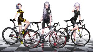 Rating: Safe Score: 70 Tags: bicycle bike_shorts glasses hitomi_kazuya long_hair original photoshop purple_hair reflection short_hair shorts skintight waifu2x watermark User: gnarf1975