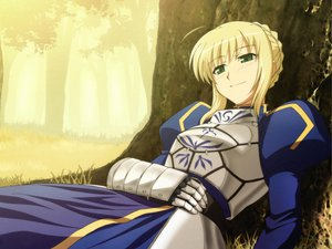 Rating: Safe Score: 36 Tags: armor blonde_hair blush dress fate_(series) fate/stay_night forest green_eyes saber tagme tree User: jjjjjhhhhh