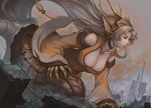 Rating: Safe Score: 50 Tags: animal_ears blonde_hair breasts building choker city cleavage doomfest japanese_clothes long_hair monster_girl_encyclopedia orange_eyes tail techgirl User: otaku_emmy