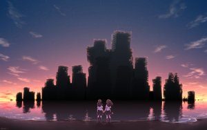 Rating: Safe Score: 72 Tags: 2girls beach brown_hair building long_hair original ruins school_uniform silhouette sky stars sunset syego twintails water User: FormX