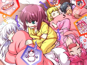 Rating: Safe Score: 70 Tags: angel_beats! animal cat nakamura_yuri shiina sleeping tachibana_kanade yui_(angel_beats!) yusa zen User: SciFi