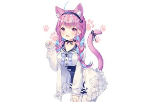 Rating: Safe Score: 66 Tags: albinoraccoon animal_ears blush bow braids catgirl choker fang headband hololive lolita_fashion minato_aqua pantyhose purple_eyes purple_hair ribbons school_uniform shirt skirt tail twintails white User: otaku_emmy