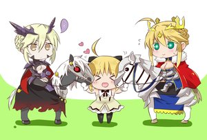 Rating: Safe Score: 24 Tags: animal armor arturia_pendragon arturia_pendragon_alter blonde_hair breasts brown_eyes cape chibi cleavage crown dress fate/grand_order fate_(series) green_eyes heart horns horse saber saber_lily tsuchiya_madose underboob User: otaku_emmy