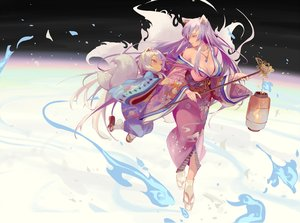 Rating: Safe Score: 44 Tags: 2girls animal_ears breasts cleavage cotton fire foxgirl japanese_clothes kimono loli long_hair magic multiple_tails necklace original purple_hair red_eyes socks tail twintails white_hair User: BattlequeenYume