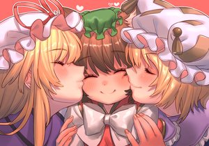 Rating: Safe Score: 43 Tags: aliasing animal_ears blonde_hair blush bow brown_hair catgirl chen close hat kiss long_hair masanaga_(tsukasa) short_hair shoujo_ai touhou yakumo_ran yakumo_yukari User: otaku_emmy