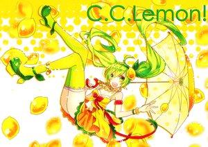 Rating: Safe Score: 19 Tags: anthropomorphism c.c._lemon c.c._lemon_(character) food fruit green_eyes green_hair sazanami_shione thighhighs twintails umbrella User: MissBMoon
