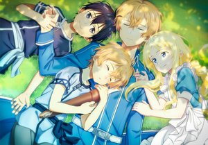 Rating: Safe Score: 10 Tags: alice_schuberg apron black_eyes black_hair blonde_hair blue_eyes eugeo fcc grass headband kirigaya_kazuto loli long_hair male short_hair sleeping sword_art_online sword_art_online_alicization User: RyuZU