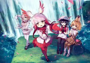 Rating: Safe Score: 37 Tags: ainy77 animal_ears anthropomorphism bow brown_hair catgirl crested_ibis_(kemono_friends) drink elbow_gloves feathers gloves grass group hat kaban kemono_friends pantyhose petals pink_hair serval shorts signed skirt suri_alpaca_(kemono_friends) tail thighhighs water waterfall wings User: RyuZU
