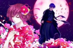 Rating: Safe Score: 29 Tags: flowers japanese_clothes kaito kimono male meiko moon night vocaloid User: HawthorneKitty