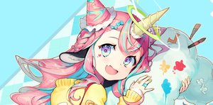 Rating: Safe Score: 39 Tags: animal_ears bandaid blue_eyes braids close fang halo hoodie horns long_hair original pink_hair soyoong_jun User: Dreista