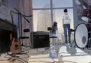Rating: Safe Score: 99 Tags: brown_hair building drums guitar instrument selina tagme User: FormX