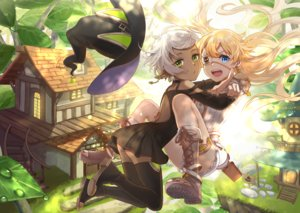 Rating: Safe Score: 51 Tags: 2girls aqua_eyes blonde_hair boots building dark_skin dress eyepatch forest garter green_eyes hat hug kurono_kito leaves long_hair original pointed_ears short_hair thighhighs tree water white_hair witch_hat User: RyuZU
