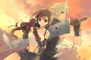 Rating: Safe Score: 130 Tags: cloud_strife final_fantasy final_fantasy_vii kuga_tsukasa tifa_lockhart User: HawthorneKitty