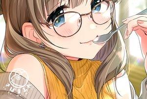 Rating: Safe Score: 22 Tags: blue_eyes blush brown_hair close glasses original tsukana_(saba_mizore) waifu2x watermark User: RyuZU