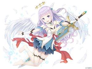 Rating: Safe Score: 57 Tags: dress halo monmusu_harem namaru_(summer_dandy) ponytail purple_eyes purple_hair sword thighhighs weapon wings zettai_ryouiki User: sadodere-chan
