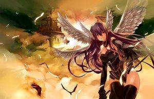 Rating: Safe Score: 202 Tags: animal bird clouds feathers gan_(shanimuni) original pointed_ears purple_hair red_eyes sky thighhighs wings User: mattiasc02