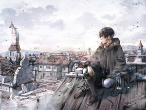 Rating: Safe Score: 45 Tags: all_male black_hair boots building city clouds kawauso levi_ackerman male ruins scenic shingeki_no_kyojin short_hair sky User: FormX