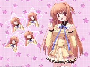 Rating: Safe Score: 40 Tags: hoshiful ikegami_akane kusuhara_kotone megami orange_eyes orange_hair pink ribbons school_uniform stars watermark User: Megami