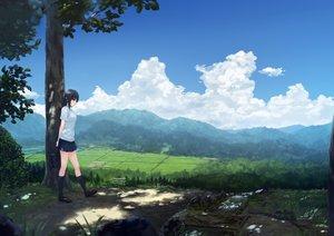 Rating: Safe Score: 82 Tags: aoyama_sumika black_hair clouds coffee-kizoku grass kneehighs landscape original scenic shade skirt sky summer third-party_edit tree User: kazuto
