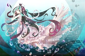 Rating: Safe Score: 48 Tags: barefoot bubbles crown dress green_hair mermaid pink_hair suu_(knzksu) underwater vocaloid water white_hair User: humanpinka