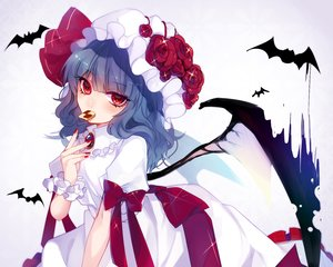 Rating: Safe Score: 69 Tags: animal bat blue_hair bow daimaou_ruaeru dress flowers food hat long_hair red_eyes remilia_scarlet ribbons touhou vampire wings User: FormX