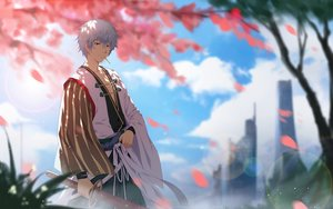 Rating: Safe Score: 40 Tags: all_male building cangkong clouds gintama gray_hair japanese_clothes male petals red_eyes sakata_gintoki short_hair sword weapon User: RyuZU