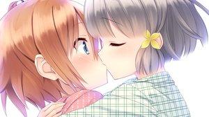 Rating: Safe Score: 50 Tags: 2girls aragaki_akira blue_eyes blush close game_cg gray_hair hiraoka_mutsuki kamitsure_~7_no_nijou_fushigi~ kiss mizuki_kotora orange_hair pajamas short_hair shoujo_ai twintails User: mattiasc02