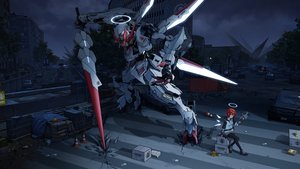 Rating: Safe Score: 44 Tags: arknights building car city clouds exusiai_(arknights) gun gundam_tekketsu_no_orphans halo mecha mobile_suit_gundam night pantyhose red_eyes red_hair scenic short_hair sky weapon wings yuuki_mix User: mattiasc02