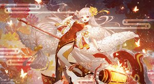 Rating: Safe Score: 80 Tags: braids butterfly chinese_clothes chinese_dress dress flowers lengchan_(fu626878068) long_hair orange_eyes original pointed_ears watermark white_hair User: BattlequeenYume