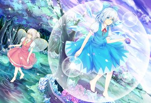 Rating: Safe Score: 11 Tags: 2girls aqua_eyes aqua_hair barefoot bubbles cirno daiyousei dress fairy hongmao petals ribbons short_hair touhou tree white_hair wings yellow_eyes User: RyuZU