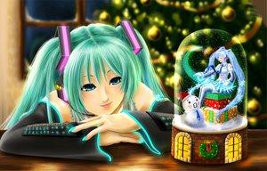 Rating: Safe Score: 43 Tags: aqua_eyes aqua_hair blue_eyes blue_hair christmas hatsune_miku headphones thighhighs tie twintails vocaloid User: HawthorneKitty